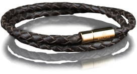 Leather Bracelet Gold 4MM - Dark Brown