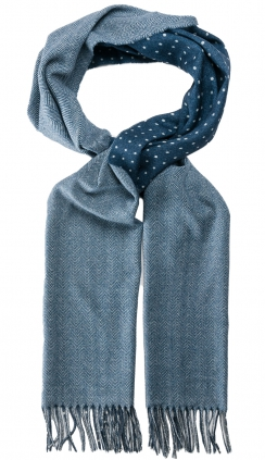 Herringbone Dots Wool Scarf | Steel Blue