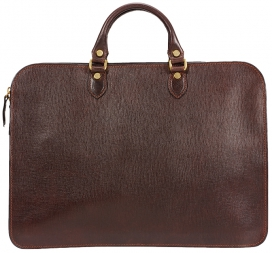 Zip Briefcase - Brown Leather