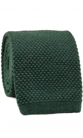 Stickad Ullslips 7,5 cm - Pine Green