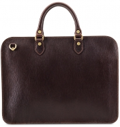 Small Zip Briefcase - Brown Leather