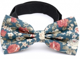 Bow Tie Cotton Collection Teal Flowers